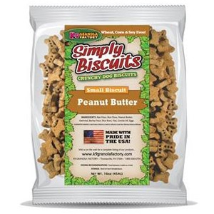 K9 Granola Factory Simply Biscuits Peanut Butter Small 1lb Dog Biscuits