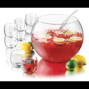 Punch Bowl Set Includes Ladle & 8 Punch Cups