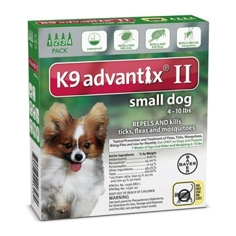 K9 Advantix II for Small Dogs 10 lbs. and under. 4 pack.
