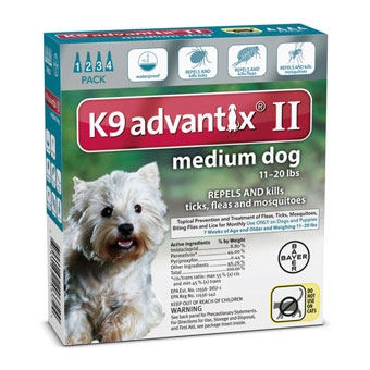 K9 Advantix II for Medium Dogs 11-20 lbs. 4 pack.