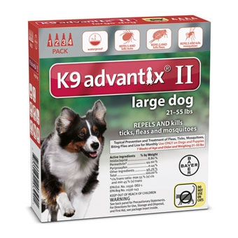 K9 Advantix II for Large Dogs 21-55 lbs. 4 pack.