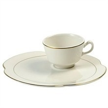"Gold Band: 9"" Snack Plate w/ Cup"