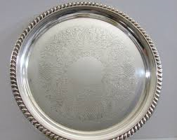 "Serving Trays: Silver 13"" round"