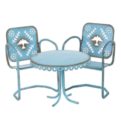 Studio-M Gypsy Garden Mini Blue Bird Bistro Set, 3-Pieces