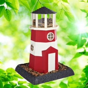 Shoreline Red Lighthouse Bird Feeder