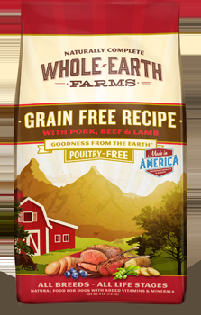 Whole Earth Farms Grain Free Dog Pork, Beef & Lamb Dry Recipe