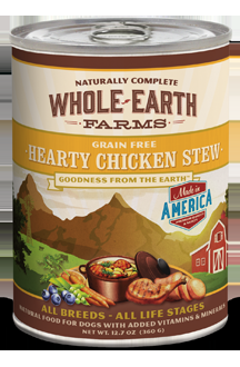 Whole Earth Farms Grain Free Dog Hearty Chicken Stew Canned Recipe