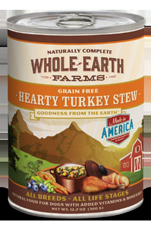 Whole Earth Farms Grain Free Dog Hearty Turkey Stew Canned Recipe