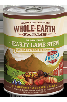 Whole Earth Farms Grain Free Dog Hearty Lamb Stew Canned Recipe
