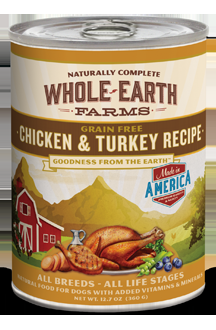 Whole Earth Farms Grain Free Dog Chicken & Turkey Canned Recipe