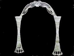 White Wicker Arch with Plant Holders
