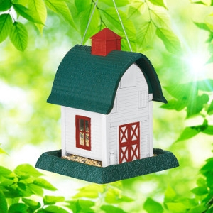 North States White Barn Birdfeeder