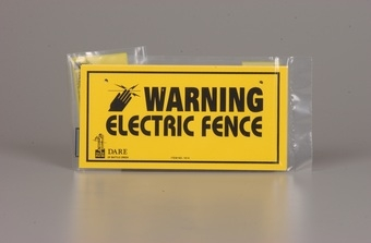 Dare Electric Fence Warning Sign 3PK
