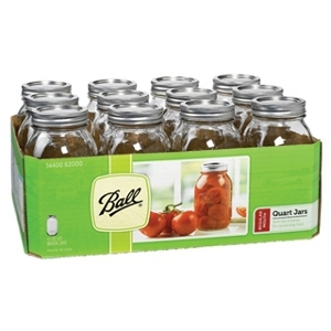 Ball Regular Mouth Mason Jars with Lids 1qt 12 Pack