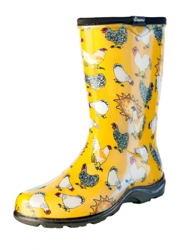 Sloggers, Women's Rain & Garden Boot, Daffodil Yellow Chicken Print