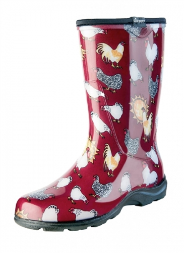 Sloggers, Women's Rain & Garden Boot, Barn Red Chicken Print