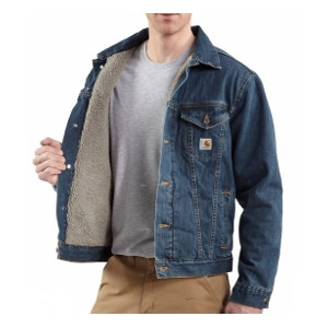 Men's Carhartt Denim Jean Jacket/Sherpa Lined