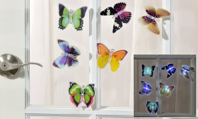 LED Lighted Butterfly Window Clings