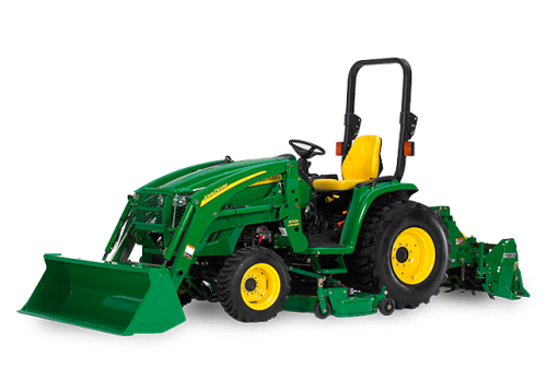 John Deere 3320 Tractor with Loader, Box Blade, Straight Blade, and 5' Brush Hog