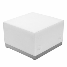 Hercules, Alon Series, White Leather Ottoman