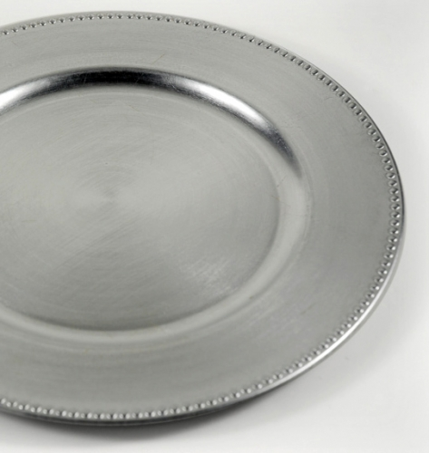 Charger, Plate Silver Beeded