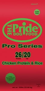 Pride 26/20 Pro Series Dog Food, 50 pound bag