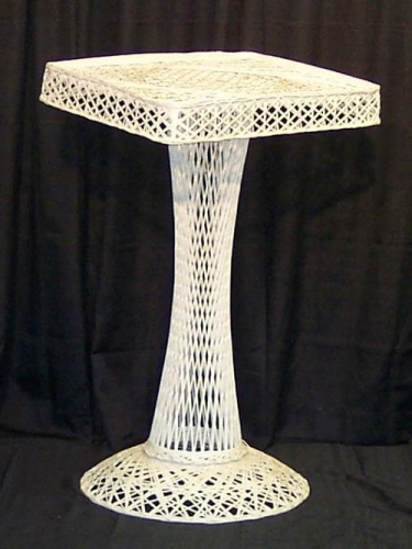 White Wicker Register Stand Podium
