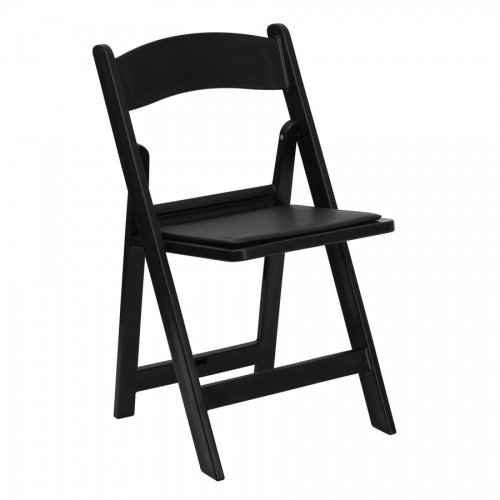Chair, Resin Black with Padded Seat