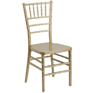 Flash Furniture Hercules Series Resin Gold Chiavari Chair With Ivory Cushion