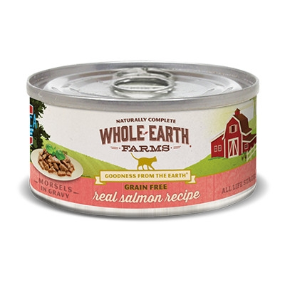Whole Earth Farms Grain Free Salmon Morsels in Gravy Cat Food, 5 oz