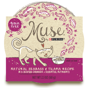 Muse by Purina: Natural Seabass & Tilapia Recipe in Chowder Cat Food