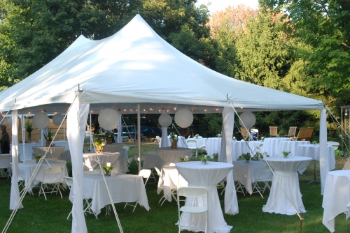 20x30 White Elite Tent - White Chairs - Pedestal & Cocktail Tables
