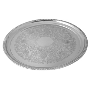 "Progressive Pro 16"" SS Round Tray with Gadroon Boarder"