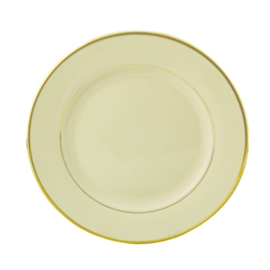 "Progressive Pro. 10 3/4"" Wide Rim, Ivory w/Gold Band Dinner Plate"