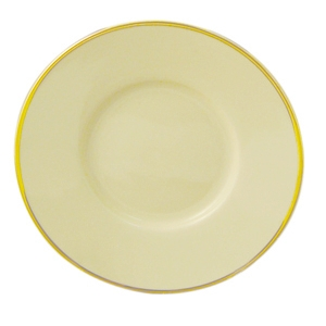 Progressive Pro. Can Saucer, Ivory w/Gold Band