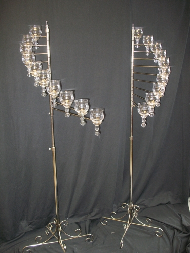 Silver 10 Lite Angel Wings Teardrop Spiral Candelabra (Pair)
