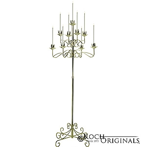 Candelabra Tree Stand Pair 9 Lite Silver With Glass Globes