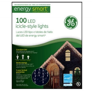 GE 100 count LED White Icicle Light Set
