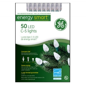 GE 50 Count White C5 Crystal Ice Light Set