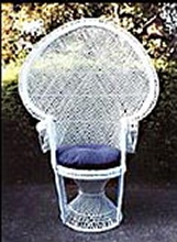 Chair, White Wicker Peacock