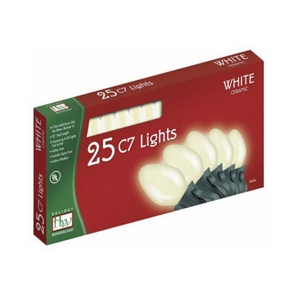 Holiday Wonderland, 25 Count, C7, White Ceramic Light Set