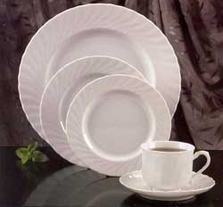 White Bavarian China with a Fluted Swirl Border - Daily Rates Listed Below