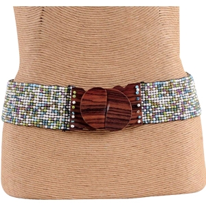 Pink House Imports Wood Hook Buckle Belt-Hilo