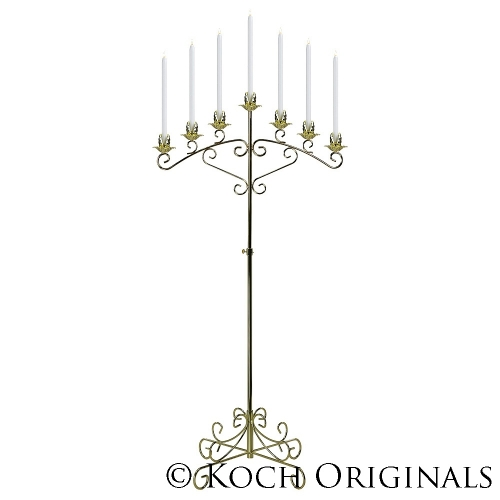 7 LT FLOOR CANDLEABRA, BRASS OR SILVER
