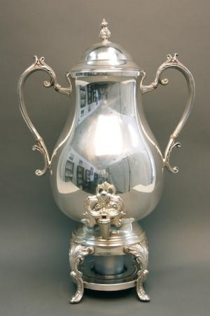 100 CUP COFFEE URN, SILVER