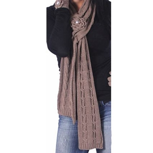 Noelle Enterprises Krystal Rose Knit Scarve with Crystal Accent