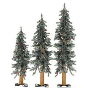 Sterling 3 Frosted Lifelike Trees with Pine Cones and Berries