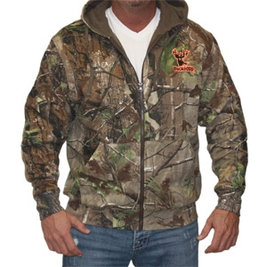 BuckedUp Zipper Hoodie - Realtree APG Camo with Orange Logo
