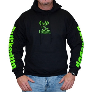 BuckedUp Pullover Hoodie - Black with Neon Green Logo