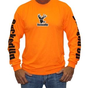 BuckedUp Longsleeve - Hunter Orange with White Logo